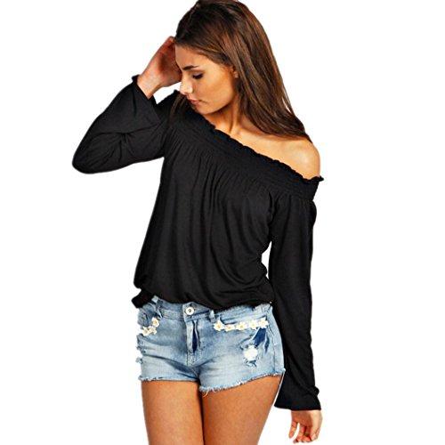 Fortan Sexy camicia a maniche lunghe senza spalline Moda Donna camicetta casual Tops (medium, Nero)