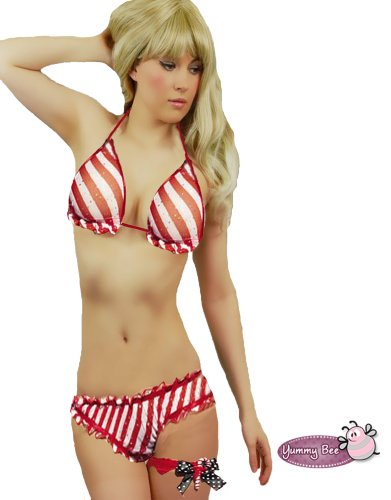 Sexy Leg Avenue Red & White Christmas Stripe Lingerie Bikini Set Candy Cane Size 10 12