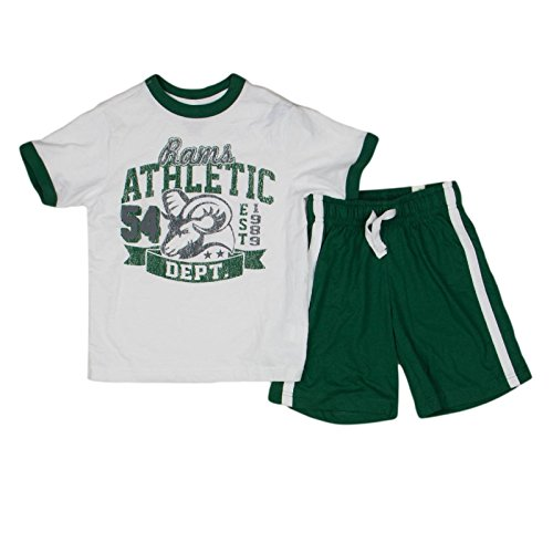 The Childrens Place Boys Rams 2-Piece Shorts Set XS 4 White/Green