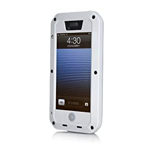 EK Aluminum Metal Cell Phone Holsters Case with Gorilla Glass Weatherproof Dirtproof Shockproof Case for Iphone 5 5G (White)