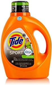 Tide Plus Febreze Freshness HE Liquid Laundry Detergent, Sport Active Fresh , 92 Fl Oz