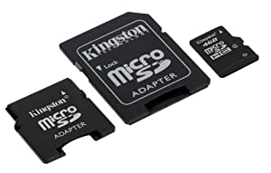 Kingston - Flash memory card ( microSDHC to SD mini SD adapters included ) - 4 GB - Class 4 - microSDHC