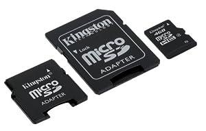 Kingston 4 GB Class 4 microSDHC Flash Memory Card with SD & miniSD Adapters SDC4/4GB-2ADP