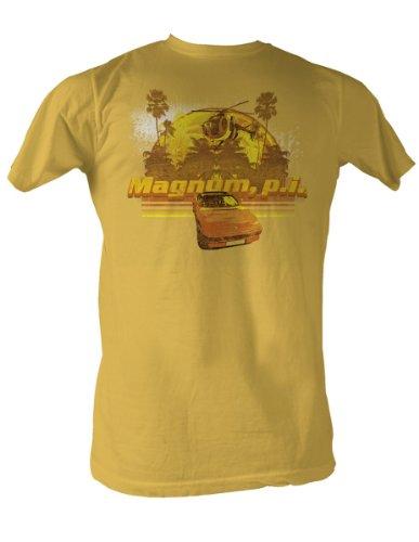 Magnum P.I. Toys-Mag-Maglietta da uomo, colore giallo senape Mostarda Large