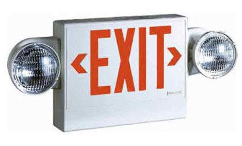 Sure-Lites Lpx7Dh, Led, White Housing, Universal Face, Red And Green Letters, Self-Powered, Combo Unit, Exit And Emergency