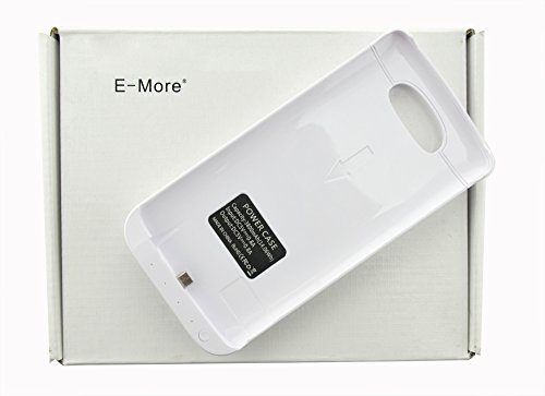 E-More® Ultra Slim 3800Mah Backup Rechargeable Extended External Battery Case With Kick-Stand For Lg G3 (White)