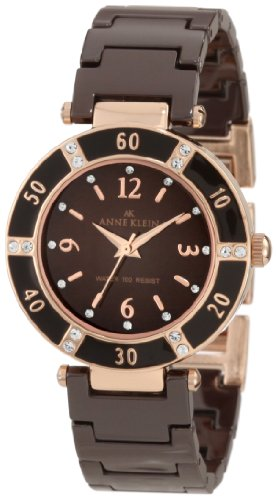 Anne Klein Women's 10-9416RGBN Brown Ceramic Quartz Watch with Brown Dial
