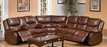3 pc Fullerton power motion Brown bonded leather match upholstered sectional sofa set with power recliners