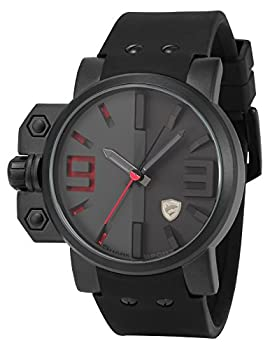Shark Men's Sport Quartz Wrist Watch Military Red 3D Dial Black Silicone SH172 from SHARK