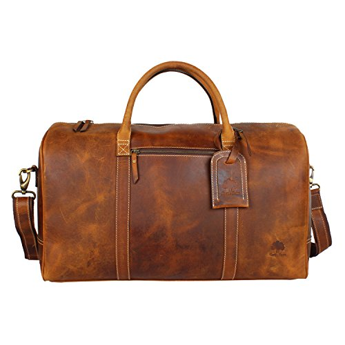 Crazy Horse Leather Travel Duffel Bag Boarding Luggage Carry On (Travel Garment Bag Leather compare prices)