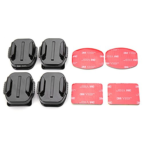360 Degree Rotatable Curved Mounts And Flat Mounts With 3M VHB Double Sided Adhesive Pads For GoPro Hero 3+/3/2/1