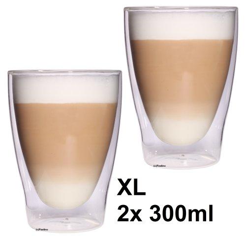"""Feelino 2x 300ml """"Lattechino"""" XL doppelwandige Latte Macchiato, Eistee und Longdrinkgläser, edle extra große Thermogläser mit Schwebeeffekt"""