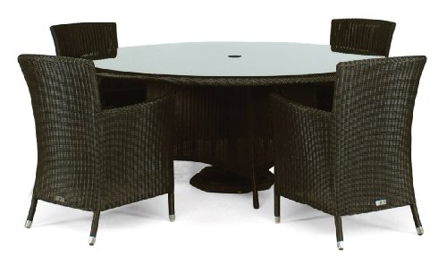 4 Armchair and Round Table Set, All-weather Rattan Weave, Patio Garden Furniture Set - OUTDOOR, INDOOR, or CONSERVATORY. Black colour.