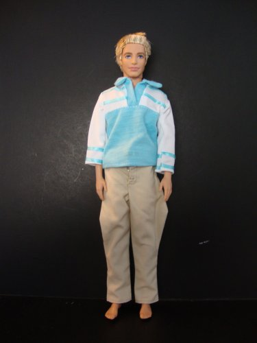 2pc Outfit Blue and White Shirt and Tan Pants Made to Fit the Ken Doll