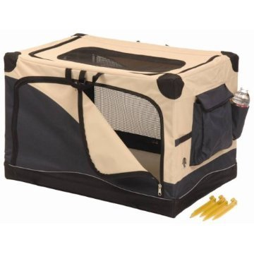 "Precision Pet 3501-X Soft Sided Pet Crate In Navy / Tan Size: X-Large (42"" X 28"" X 27"")"