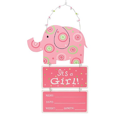 "Elephant Wooden Wall Hanging Pink ""It's a Girl!"" with Birth Statistics - 1"