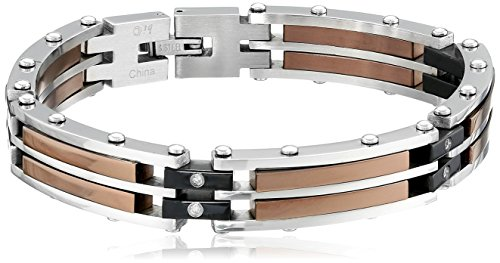 Men's Black Plated and Brown Ion Plated Stainless Steel Bracelet with Diamond-Accent (.16 cttw), 8″