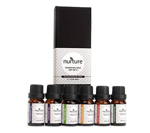Nurture Essential Oil Gift Set: Lavender, Tea Tree, Eucalyptus, Lemongrass, Sweet Orange, Peppermint (Six 100% Organic Oils)