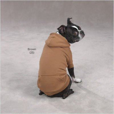 "Fleece Lined Dog Hoodie Size-See Chart Below: Large: 20"" L, Color: Brown"