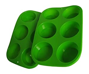 2 Piece Set cmsHome Silicone Non-stick Standard Muffin Cupcake Pans Green