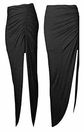 Topnotch Women Ladies Ruched Side Split Long Jersey Maxi Skirt Celebrity Style Size -Black-12/14