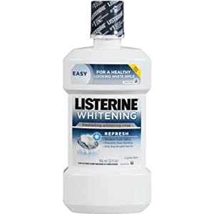 Listerine Whitening Pre-Brush Rinse, Refresh, Clean Mint, 2