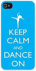 Rikki KnightTM Keep Calm and Dance On - Sky Blue Color Design iPhone 5 Case Cover (White Rubber with bumper protection) for Apple iPhone 5