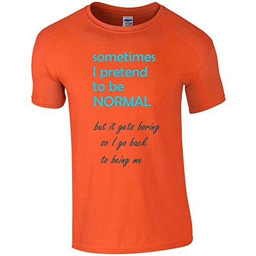 Divertente 018, I Pretend to be Normal, Orange Gildan Softstyle Youth Ringspun T-shirt Arancione Bambino Ragazze Maglietta Girls Top con Design Colorato. Taglia Small, 5-6 Anni.