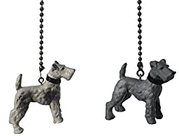 Set of 2 Wire Hair Fox Terrier Dog Ceiling FAN PULL light Chain extender Ornaments