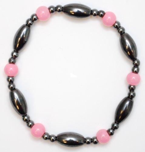 Magnetic Hematite Bracelet  Rose Quartz