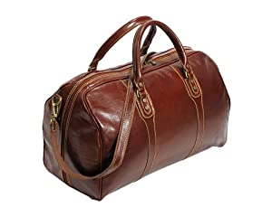 Cenzo Duffle Vecchio Brown Italian Leather Weekender Travel Bag by Cenzo