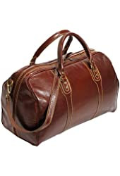 Cenzo Duffle Vecchio Brown Italian Leather Weekender Travel Bag