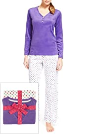 Y-Neck Spotted Fleece Pyjamas [T37-3897-S]
