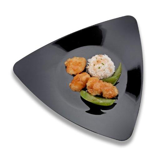 Emi Yoshi Koyal Triangles Luncheon Plates, Black, Set Of 120 front-1058923
