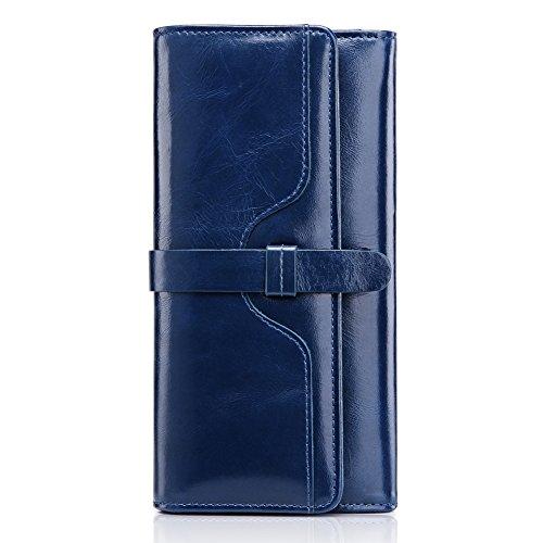 Prtamonete donne vero cuoio portafoglio (Blu)