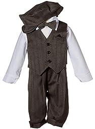 Infant Toddler Knicker Set with Vest and Hat - Vintage Grey Stripe 9M