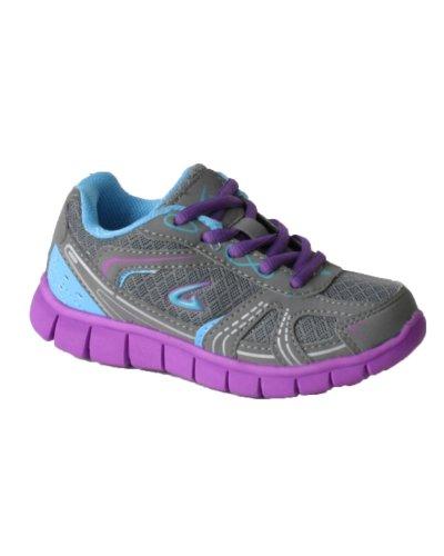 Girl's Streak Design Sneakers Shoes Girls ( Little Kid),Grey/Purple,2 US