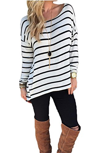 CRAVOG Women's Round Neck Striped Stretch Basic T Shirt Tops Long Sleeve Blouse