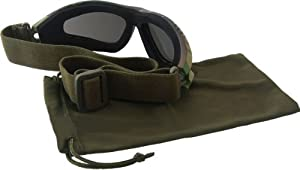 """Lunettes Goggles d'intervention US Army Commando Forces Spéciales """"Black Panther"""" Monture Woodland Camouflage - Verres noirs - Airsoft - Paintball - Moto - Quad - Ski - Snow - Outdoor"""