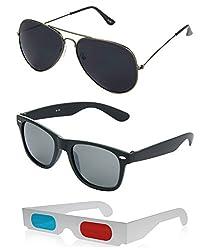 Hrinkar Aviator Black Lens Grey Frame, Wayfarer Grey Lens Black Frame & Paper 3D Glass - HCMB083