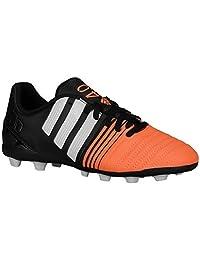 adidas Kids Unisex Nitrocharge 4.0 FxG J (Little Kid/Big Kid) Black/White/Flash Orange Sneaker 12 Little Kid M