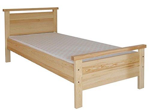 Kinderbett / Jugendbett Kiefer massiv Vollholz natur 70, inkl. Lattenrost – Abmessung 100 x 200 cm