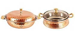 IndianArtVilla Handmade High Quality Stainless Steel Copper Royal Donga Casserole Capacity 750 ML with 1 Casserole Handi wit Glass Tumbler Lid volume 700 ML for Serving Indian Dishes Restaurant Home Hotel Ware Gift Item
