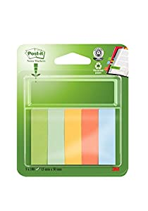 Post-it 15mm x 50mm Recycled Note Page Markers - Blue/ Banana Yellow/ Mandarin Orange/ Light Green/ Grass Green (100 Sheets of Each Colour)