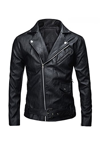jkqa da uomo stile classico di polizia in finta pelle giacca da moto Black Medium