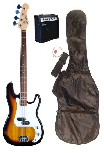 "Full Size 43"" Precision P Sunburst Electric Bass Guitar With 10 Watt Amplifier Pack & Directlycheap(Tm) Translucent Blue Medium Guitar Pick"