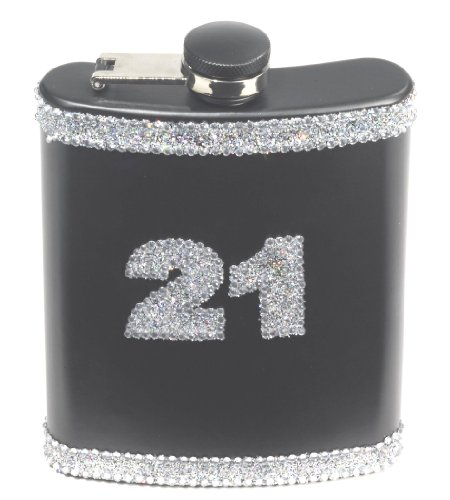 Forum Novelties 21st Birthday Black Glitter Flask