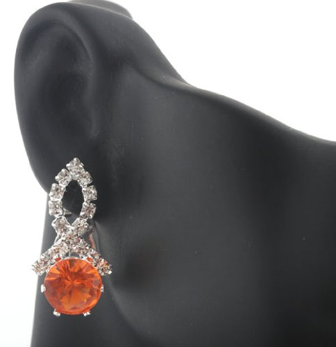 Ladies Silver Iced Out Ribbon Style with Orange Stone Clip On Stud Earrings