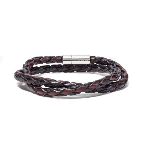 Tateossian Mens Braided Leather Scoubidou w/ Silver Clasp Bracelet - Ebony/Brown