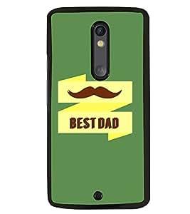 Fuson Premium Best Dad Metal Printed with Hard Plastic Back Case Cover for Motorola Moto X Play